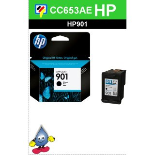 HP901BK - Original CC653AE - schwarz- Druckpatrone mit ca. 200 Druckleistung nach Iso