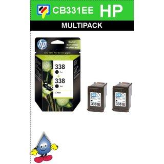 HP338BK - Original CB331EE - schwarz -Druckpatronen mit je 2x 11ml Inhalt und ca. 900 Seiten Druckleistung nach Iso