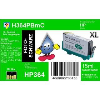 HP364PB - TiDis Ersatzpatrone - fotoschwarz - mit 15ml Inhalt ersetzt CB322EE/HP364PBXL