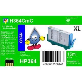 HP364C - TiDis Ersatzpatrone - cyan - mit 15ml Inhalt ersetzt CB323EE/HP364CXL