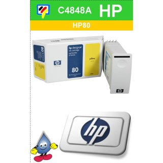 HP80Y - Original C4848A-gelb-Drucktinte mit 350ml Inhalt zum Superangebot