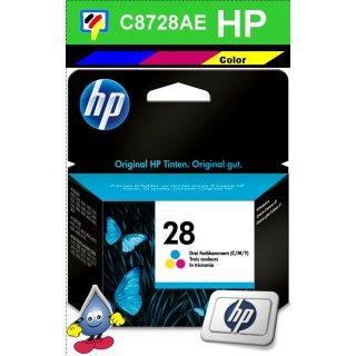 HP28 - Original C8728AE-color-Druckpatrone mit 8ml und ca. 190 Seiten Druckleistung nach Iso