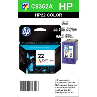 HP22 - Original C9352AE-color-Druckpatrone mit 5ml Inhalt zum Superangebot