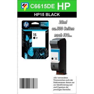 HP15BK - Original C6615DE-schwarz-Druckpatrone mit 25ml Inhalt zum Superangebot